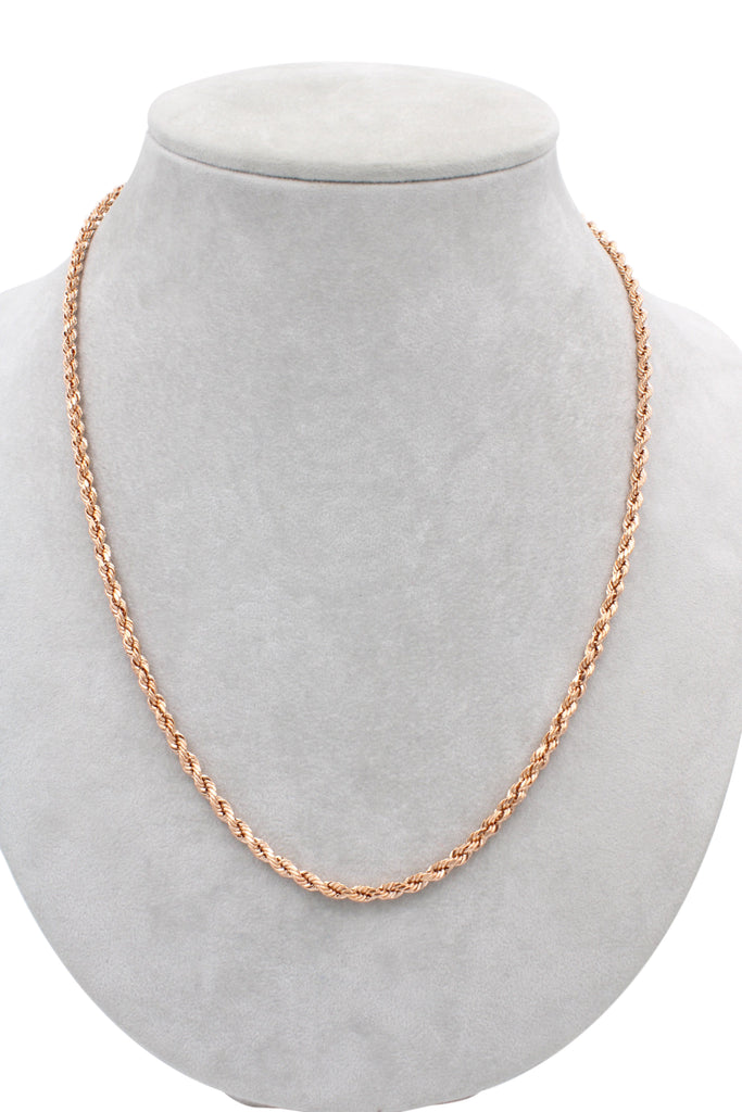 "*NEW* 14K Rose Gold Hollow Rope Chain (3.7 MM/ 24 "" Inches)-JTJ™- - Javierthejeweler"