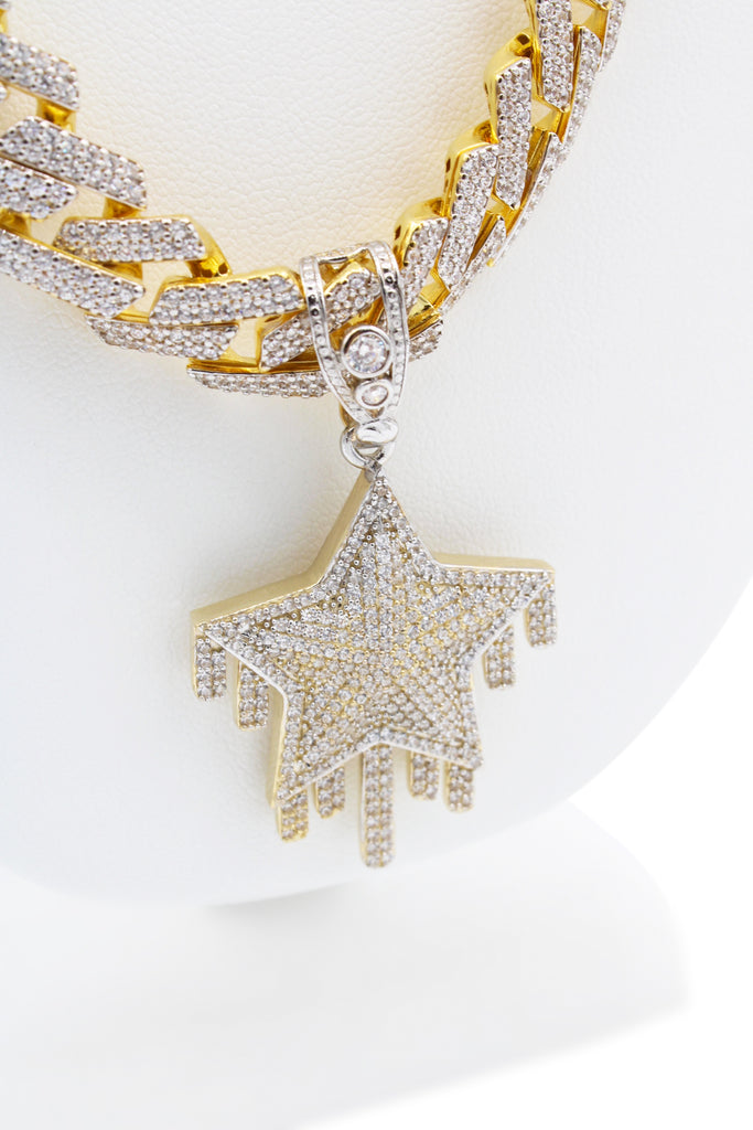 *NEW* 14K Hollow Monaco Chain (EDGE DESIGN ) W/ Star Pendant JTJ™ - - Javierthejeweler