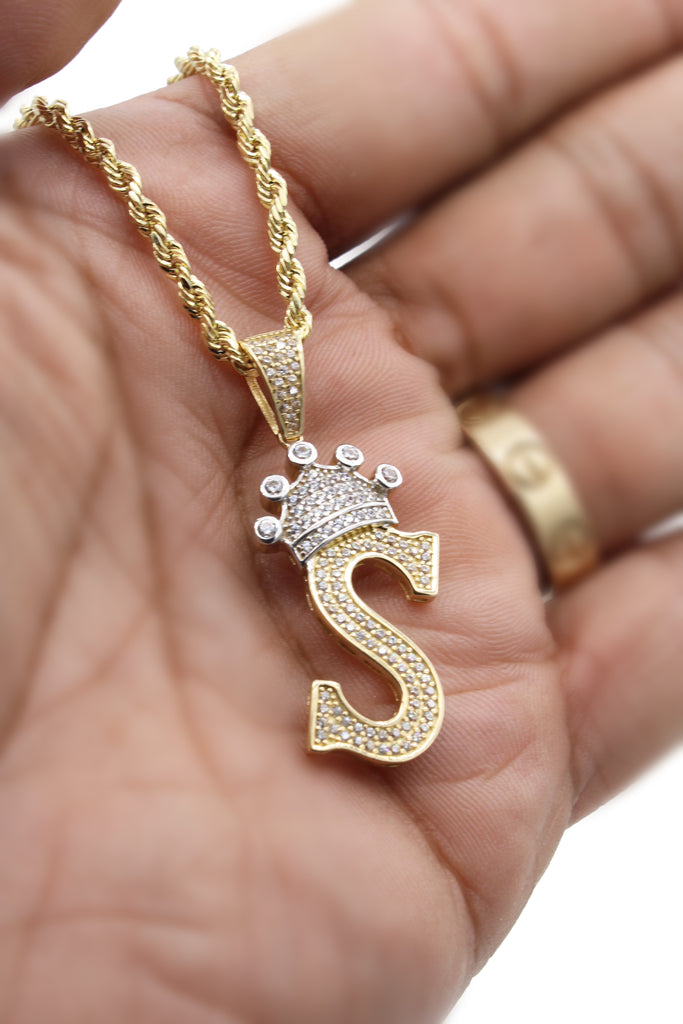 *NEW* 14k Hollow Rope Chain W/ Big Initial Pendant (S) Included-JTJ™ - Javierthejeweler