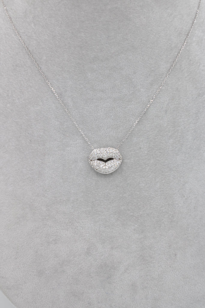 *NEW* 14k White Gold Lady Necklace 💎Diamonds Kiss 💋💎- JTJ™ - Javierthejewelernyc