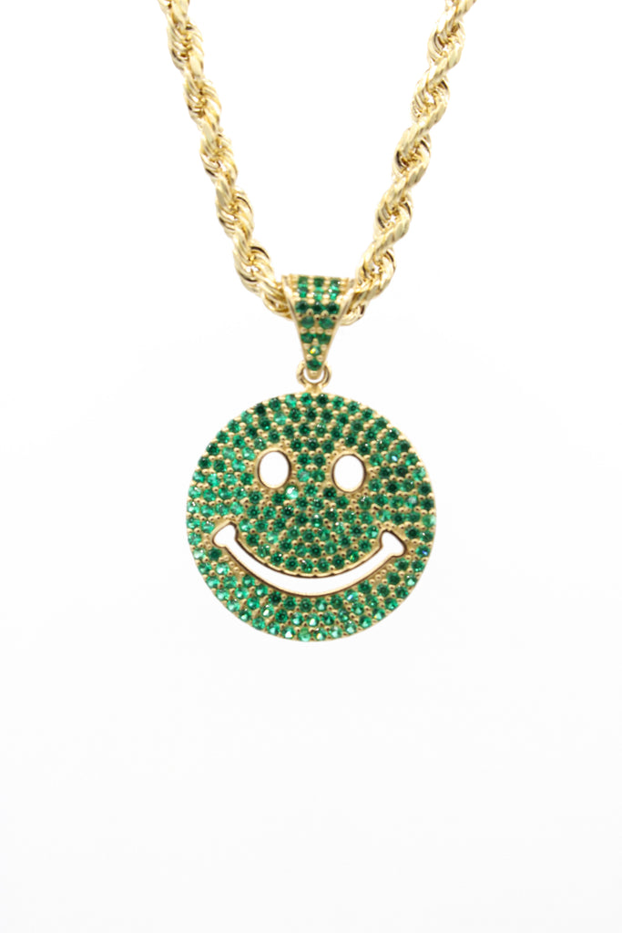 *NEW* 14K Hollow Rope Chain W/ Emoticon Face Pendant (Green)JTJ™ - - Javierthejewelernyc