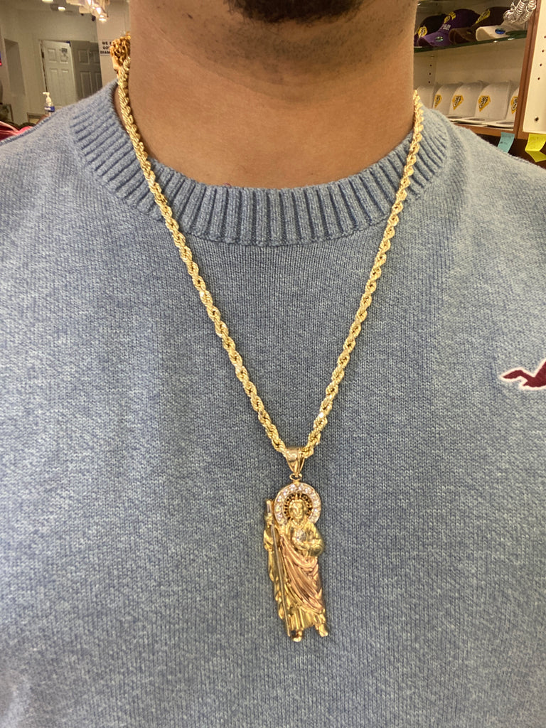 *NEW*14k Hollow Rope Chain W/ Saint Jude Pendant JTJ™- - Javierthejewelernyc