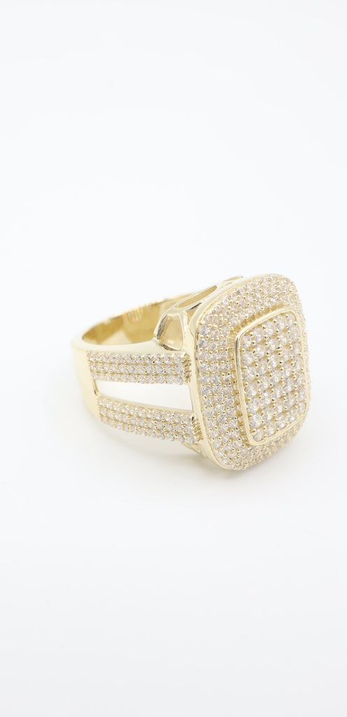 14k Gold Men's Square Ring With Stones JTJ™ - - Javierthejewelernyc