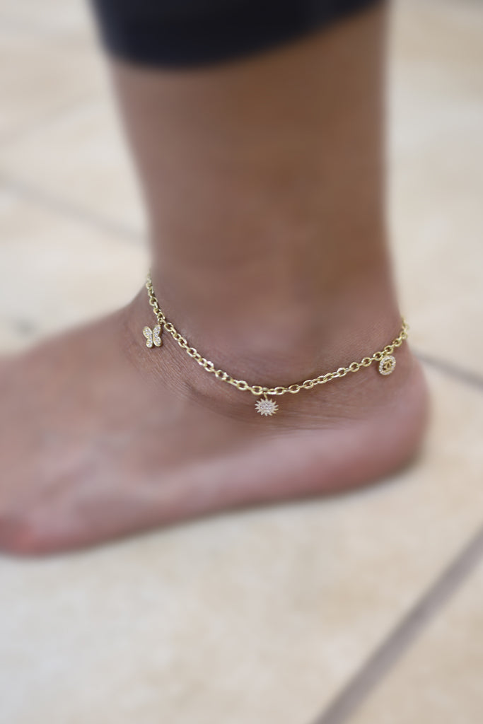 *NEW* 14K Charms Ankle Bracelet 😻 🐢 🦋  JTJ™ - Javierthejeweler