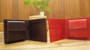 [Japanese Craftsman Made / City] Bi-fold wallet Left-handed right-handed No coin purse (Leather tanned with vegetable tannins) Made-to-order product