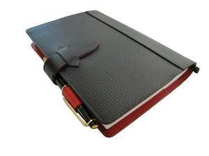 [Japanese Craftsman Made / CP / Card pocket] Notebook cover A5 size carbon pattern leather and Tochigi leather (Leather tanned with vegetable tannins)