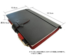 Load image into Gallery viewer, [Japanese Craftsman Made / CP / Card pocket] Notebook cover A5 size carbon pattern leather and Tochigi leather (Leather tanned with vegetable tannins)