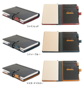 [Japanese Craftsman Made / CP] Notebook & memo pad cover A5 size carbon pattern leather and Tochigi leather  (Leather tanned with vegetable tannins)