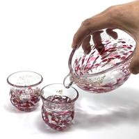 Hokuyo Glass [Tsugaru Vidro] Flower Raft Glass One-sided Sake_Glass Set