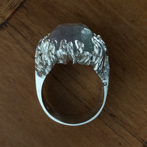 Green Dragon's Eye Silver Ring