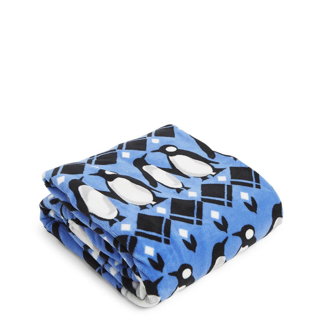 Factory Style Throw Blanket-Penguins Intarsia Blue-Image 1-Vera Bradley