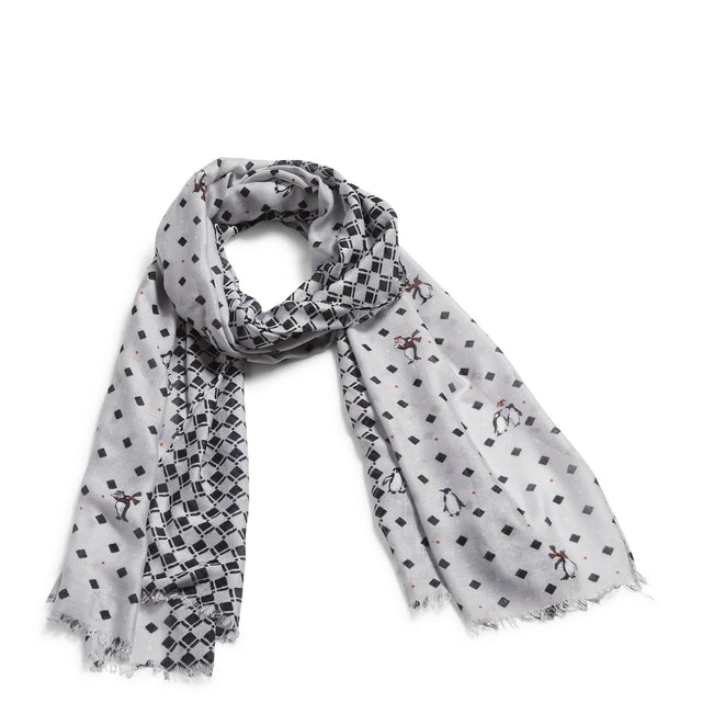 Soft Fringe Scarf-Playful Penguins Gray-Image 1-Vera Bradley