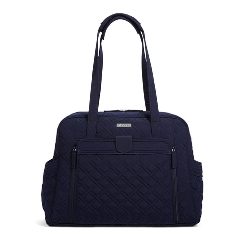 Large Stroll Around Diaper Bag-Microfiber Classic Navy-Image 1-Vera Bradley
