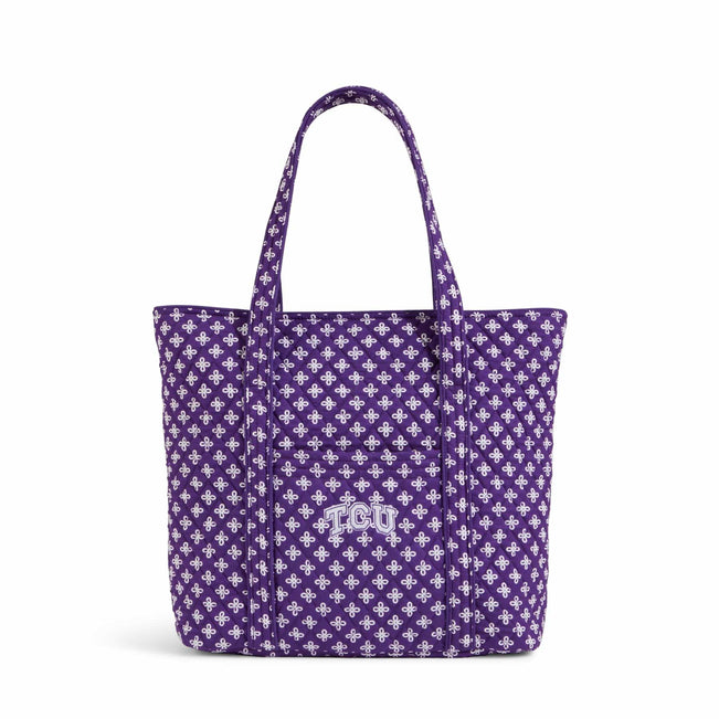 Collegiate Vera Tote Bag-Purple/White Mini Concerto with Texas Christian University Logo-Image 1-Vera Bradley