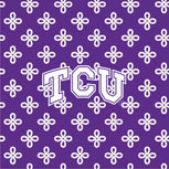 Collegiate Vera Tote Bag-Purple/White Mini Concerto with Texas Christian University Logo-Image 3-Vera Bradley