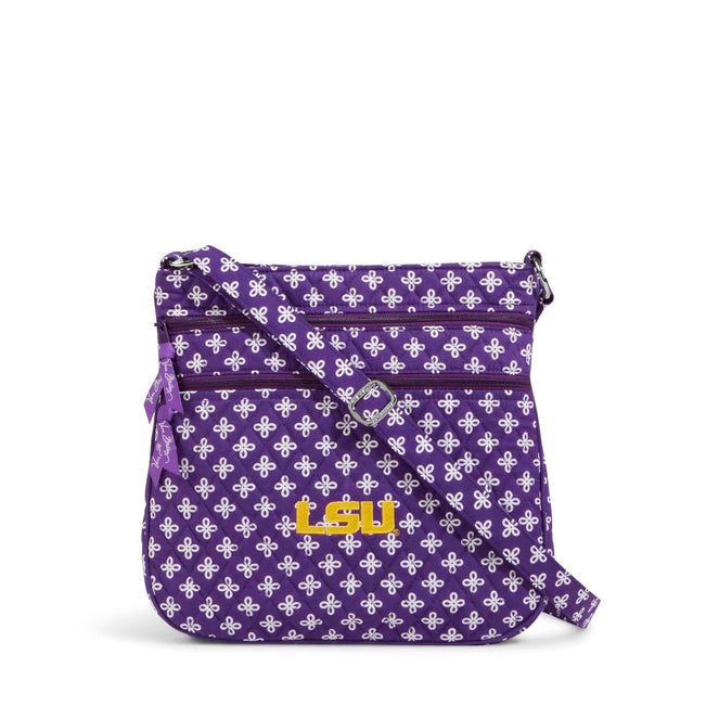 Collegiate Triple Zip Hipster Crossbody-Purple/White Mini Concerto with Louisiana State University-Image 1-Vera Bradley