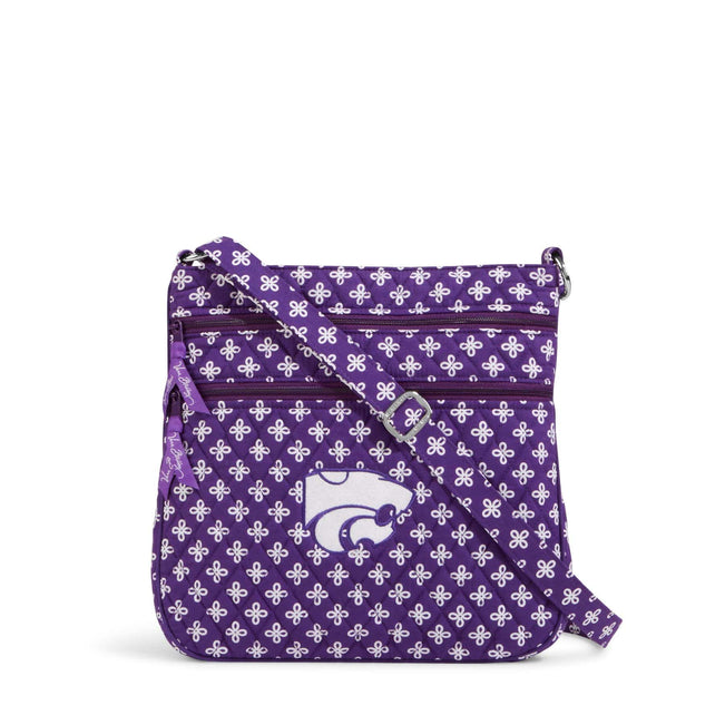 Collegiate Triple Zip Hipster Crossbody-Purple/White Mini Concerto with Kansas State University Logo-Image 1-Vera Bradley