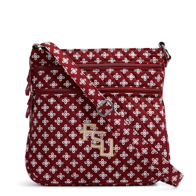 Collegiate Triple Zip Hipster Crossbody-Garnet/White Mini Concerto with Florida State University-Image 1-Vera Bradley