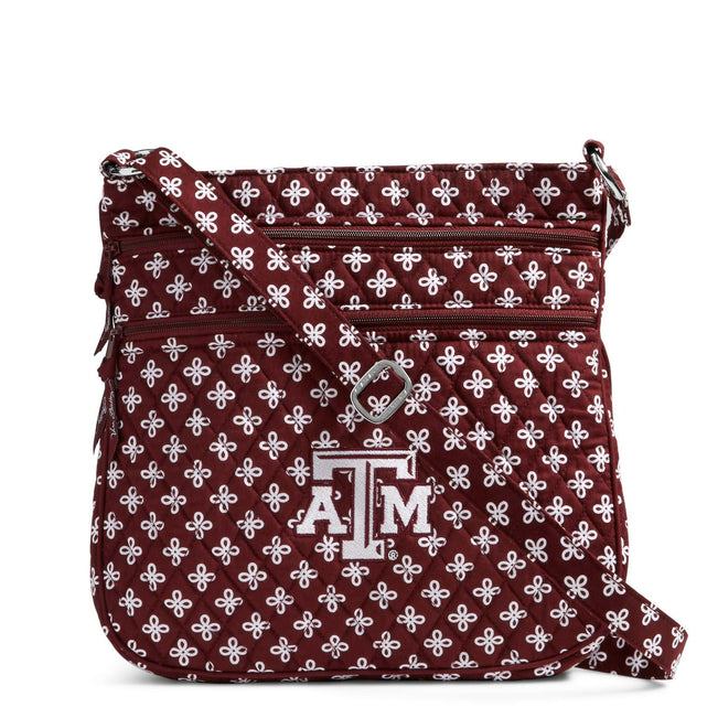 Collegiate Triple Zip Hipster Crossbody-Maroon/White Mini Concerto with Texas A and M University-Image 1-Vera Bradley