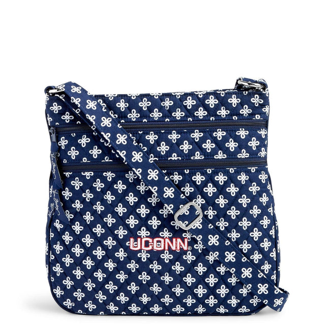 Collegiate Triple Zip Hipster Crossbody-Navy/White Mini Concerto with University of Connecticut Logo-Image 1-Vera Bradley