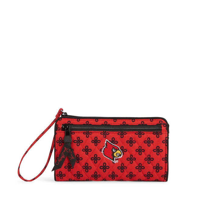 Collegiate Front Zip Wristlet-Red/Black Mini Concerto with University of Louisville Logo-Image 1-Vera Bradley