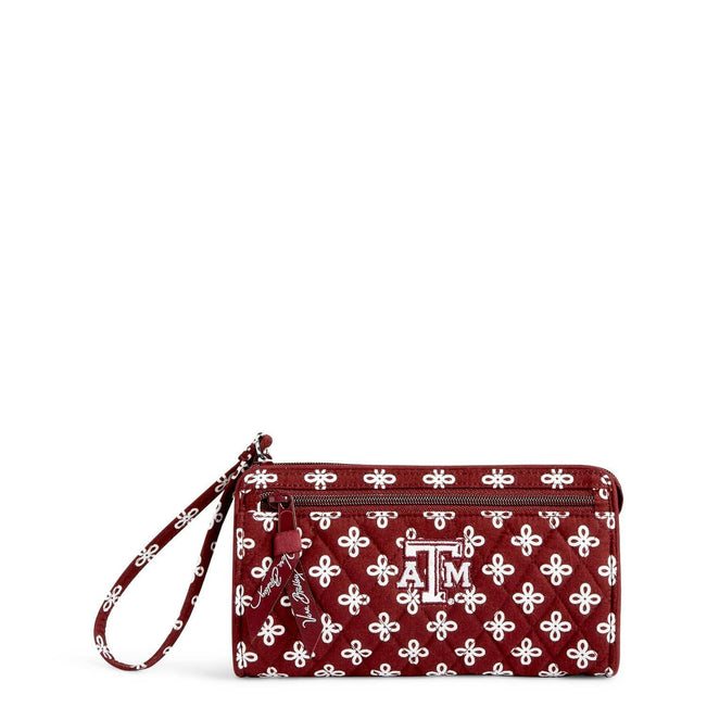 Collegiate Front Zip Wristlet-Maroon/White Mini Concerto with Texas A and M University-Image 1-Vera Bradley