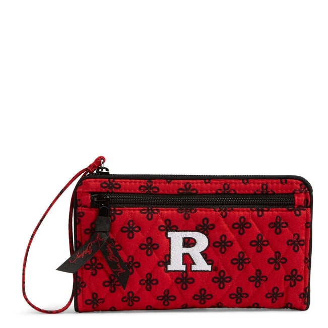 Collegiate Front Zip Wristlet-Red/Black Mini Concerto with Rutgers University-Image 1-Vera Bradley