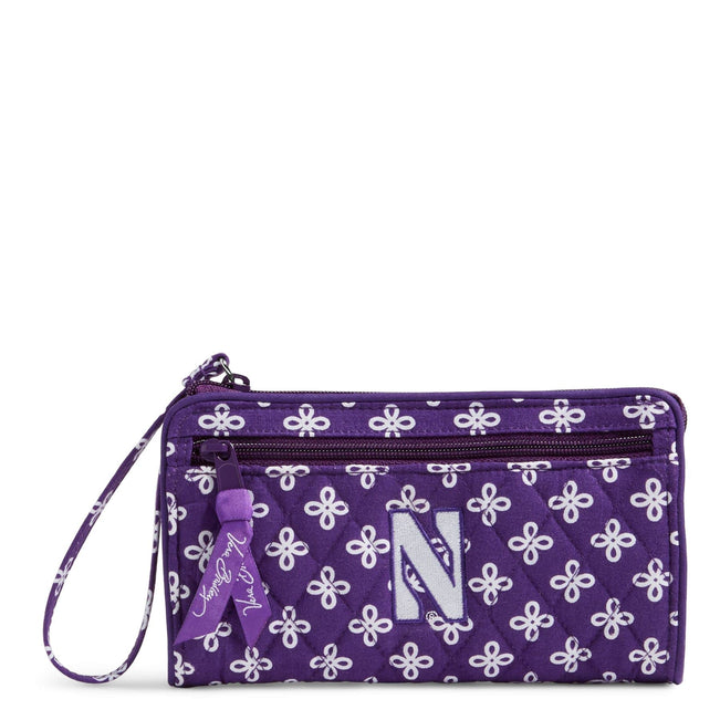 Collegiate Front Zip Wristlet-Purple/White Mini Concerto with Northwestern University Logo-Image 1-Vera Bradley