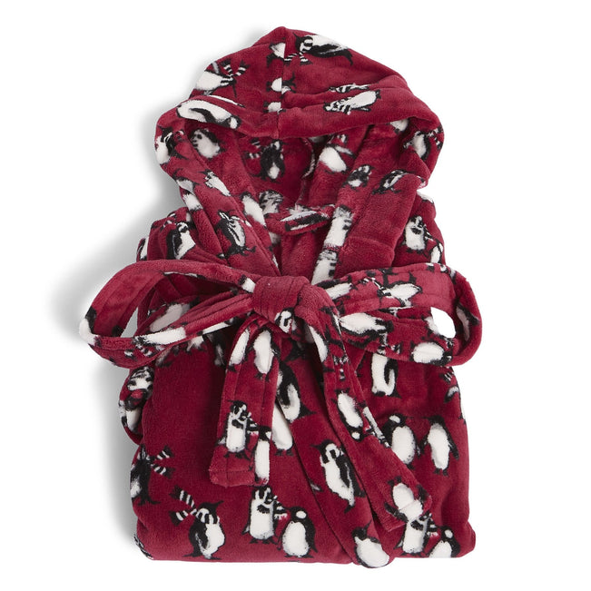 Factory Style Fleece Robe-Playful Penguins Cabernet-Image 1-Vera Bradley
