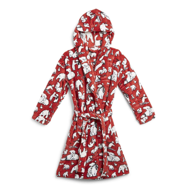 Factory Style Fleece Robe-Beary Merry Red-Image 1-Vera Bradley