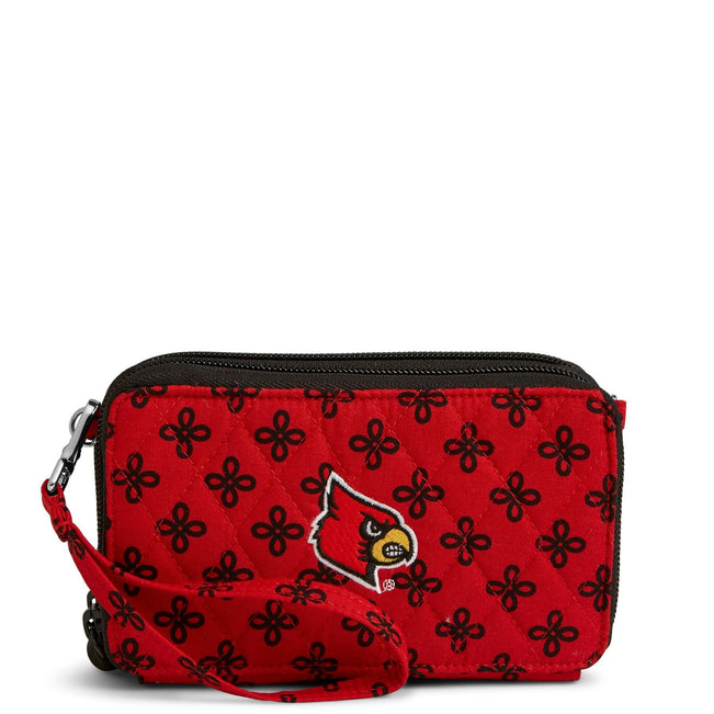 Collegiate RFID All in One Crossbody Bag-Red/Black Mini Concerto with University of Louisville Logo-Image 1-Vera Bradley