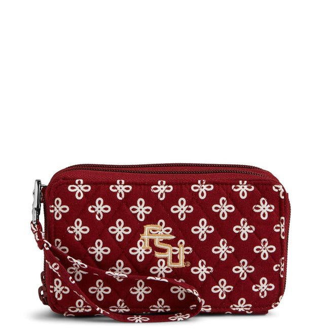 Collegiate RFID All in One Crossbody Bag-Garnet/White Mini Concerto with Florida State University-Image 1-Vera Bradley