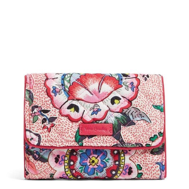RFID Riley Compact Wallet-Stitched Flowers-Image 1-Vera Bradley