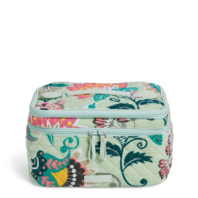 Brush Up Cosmetic Case-Mint Flowers-Image 1-Vera Bradley