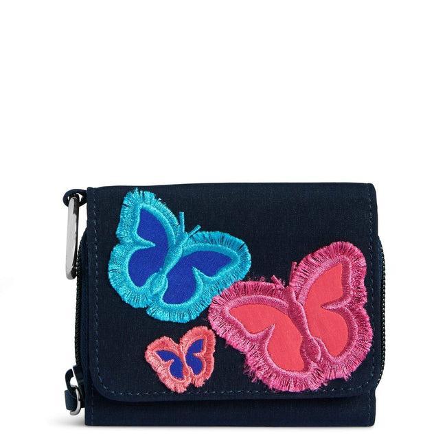 RFID Card Case-Microfiber Butterfly Flutter Classic Navy-Image 1-Vera Bradley