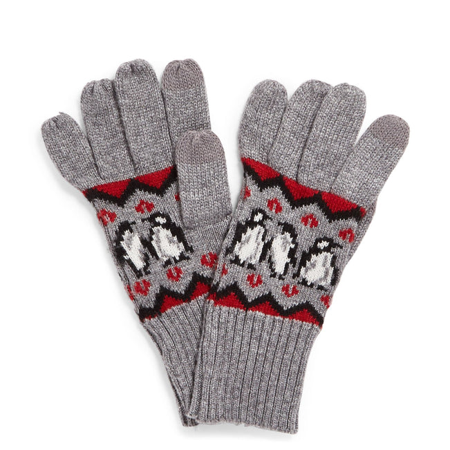 Factory Style Jacquard Tech Gloves-Playful Penguins Red-Image 1-Vera Bradley