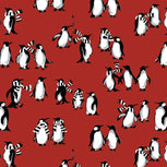 Factory Style Jacquard Tech Gloves-Playful Penguins Red-Image 2-Vera Bradley