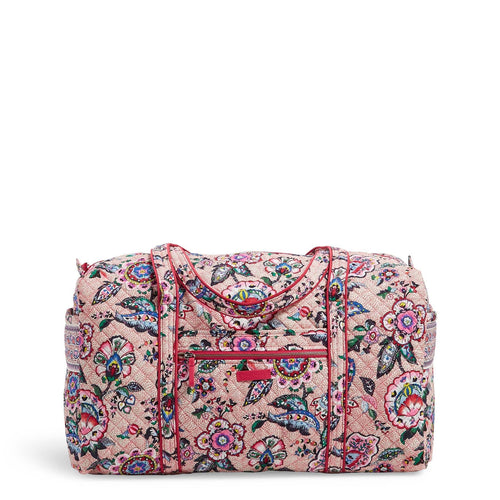 Large Travel Duffel Bag-Stitched Flowers-Image 1-Vera Bradley