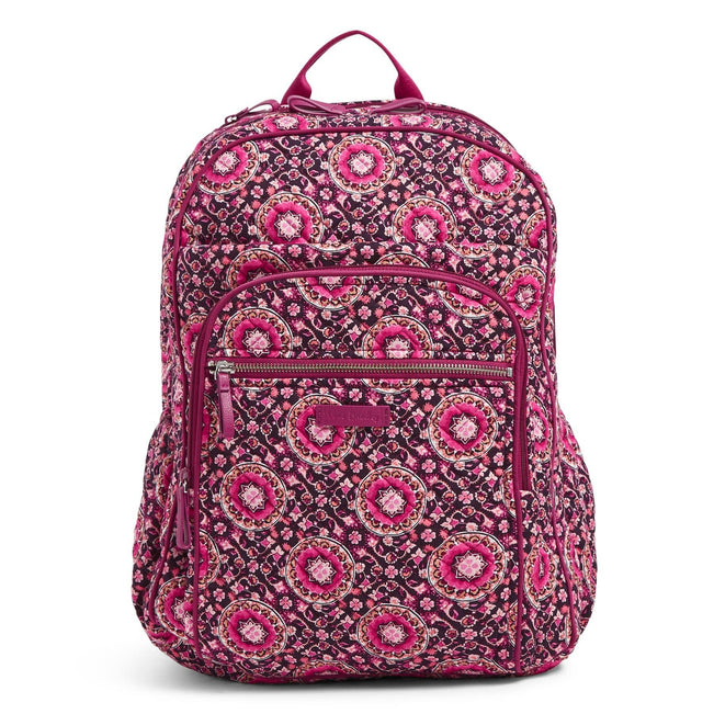 XL Campus Backpack-Raspberry Medallion-Image 1-Vera Bradley