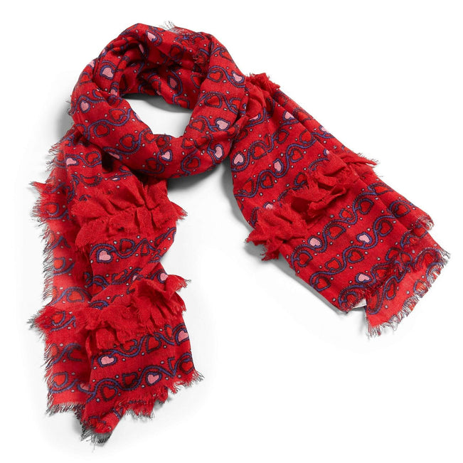 Oblong Ruffle Scarf-Stitched Vines-Image 1-Vera Bradley
