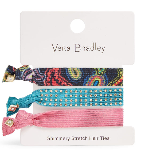Factory Style Shimmery Stretch Hair Ties-Twilight Paisley-Image 1-Vera Bradley