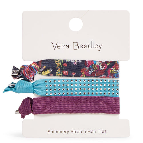 Factory Style Shimmery Stretch Hair Ties-Midnight Wildflowers-Image 1-Vera Bradley
