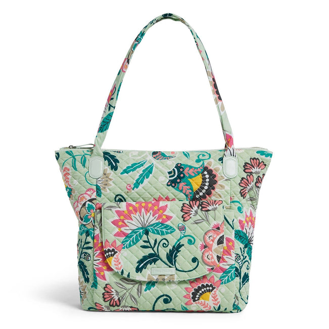 Carson North South Tote Bag-Mint Flowers-Image 1-Vera Bradley