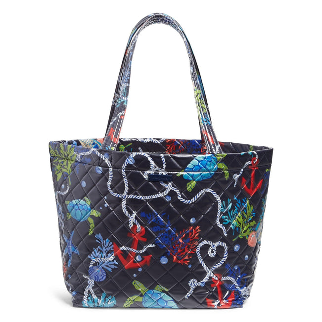 Quilted Beach Tote Bag-Spring Tide Navy-Image 1-Vera Bradley