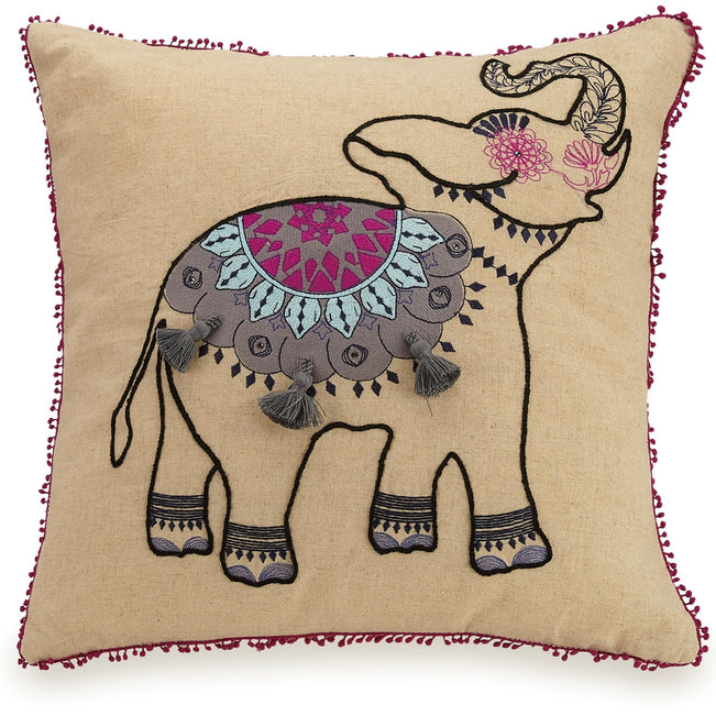 Dream Elephant Embroidered Throw Pillow-Linen-Image 1-Vera Bradley