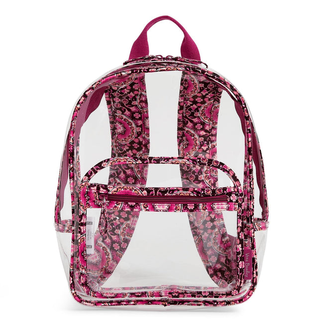 Clearly Colorful Stadium Backpack-Raspberry Medallion-Image 1-Vera Bradley