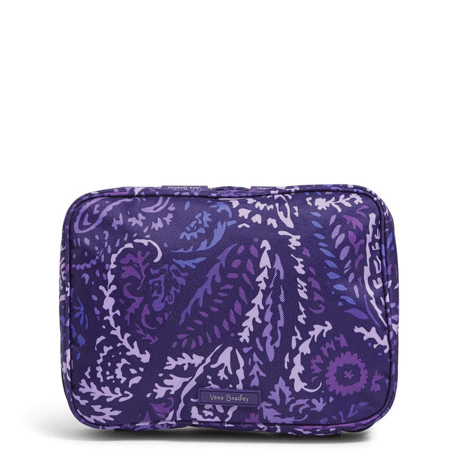 Factory Style Lighten Up Zip-Around Cosmetic Bag-Paisley Amethyst-Image 1-Vera Bradley