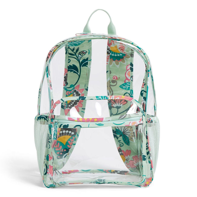 Clearly Colorful Large Backpack-Mint Flowers-Image 1-Vera Bradley