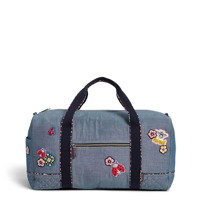 VBU Large Travel Duffel Bag with Patches-Blue Chambray-Image 1-Vera Bradley