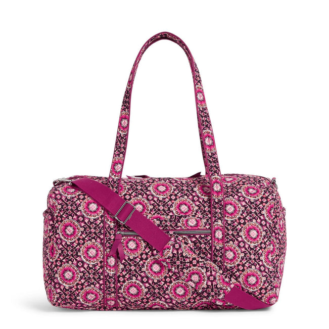 Medium Travel Duffel Bag-Raspberry Medallion-Image 1-Vera Bradley